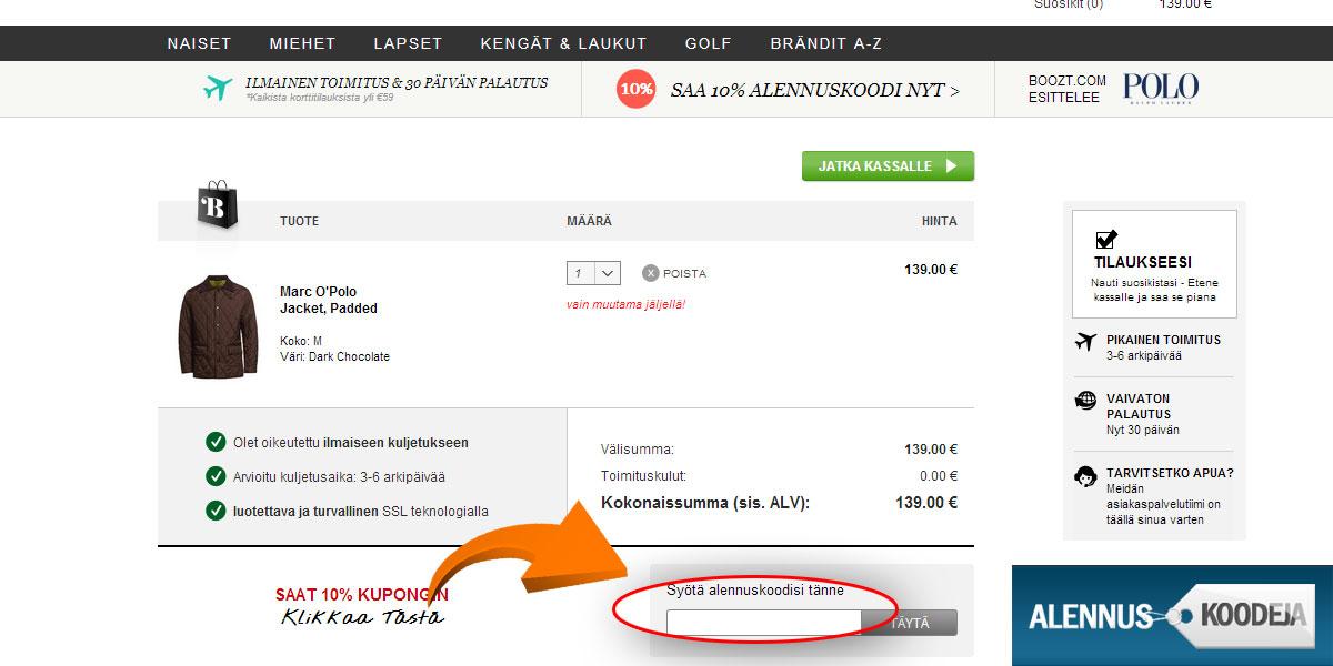 Liitä Boozt.com alennuskoodi nuolen osoittamaan kenttään