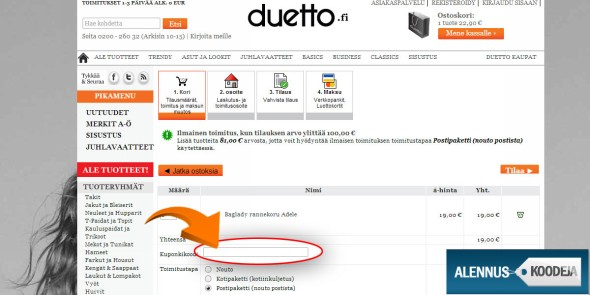 Liitä Duetto-verkkokaupan koodi punaisella merkittyyn kohtaan