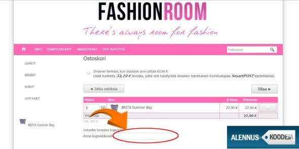 Fashionroomin alennuskoodi liitetään nuolen osoittamalle kohdalle