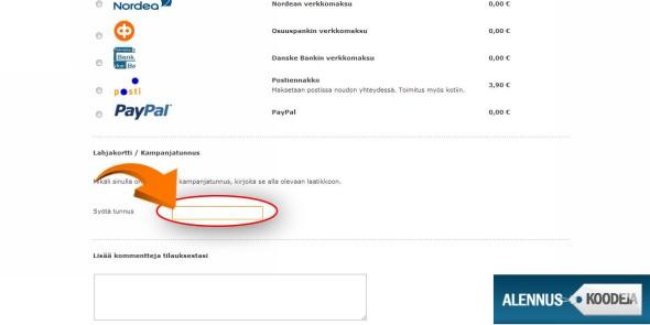 Finnish Design Shopin alennuskoodi liitetään oranssin nuolen merkitsemään kenttään