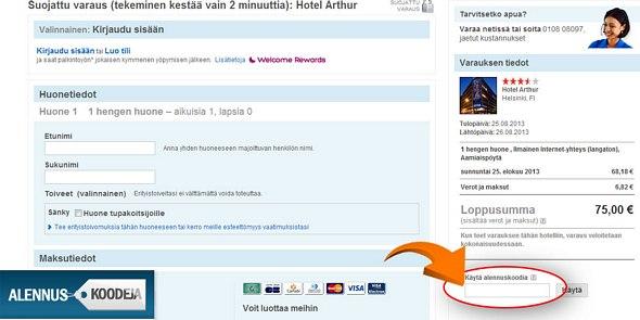 Alennuskoodin liittämällä punaisella merkittyyn kohtaan säästät Hotels.comissa tekemistäsi varauksista.