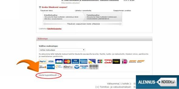 Liitä lightinthebox.com alennuskoodi nuolen osoittamasta kohdasta avautuvaan kenttään