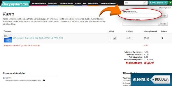 Shopping4net -alennuskoodi liitetään punaisen renkaan sisällä näkyvään kenttään.