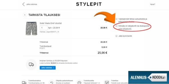 Stylepitin alennuskoodin pääset lisäämään klikkaamalla nuolen merkitsemää kohtaa